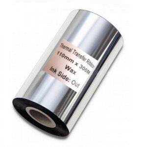وکس WAX 110MM-300M سایز عرض 11cm و طول300 متر از نوع کاربن وکس(WAX) هستند و مناسب انواع لیبل های کاغذی و لیبل پرینترهای با مخزن بزرگ